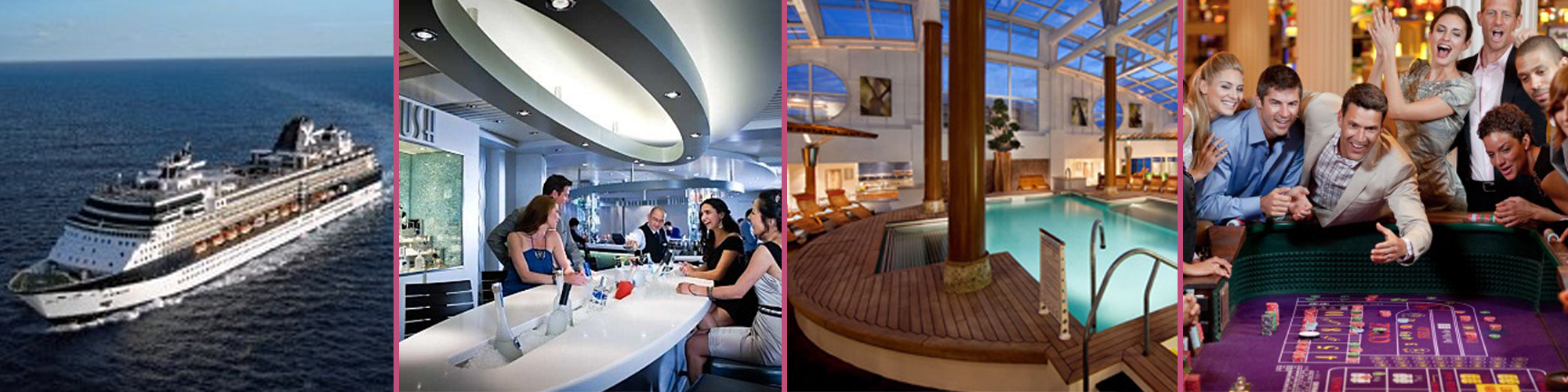 Image Collage of Cruise Ship, A Bar, A Pool, and Group Gambling